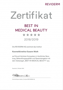 Zertifikat Best in Medical Beauty 2018-2019